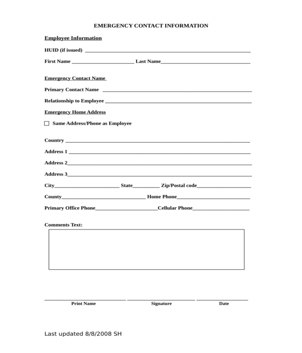 emergency contact information form in doc