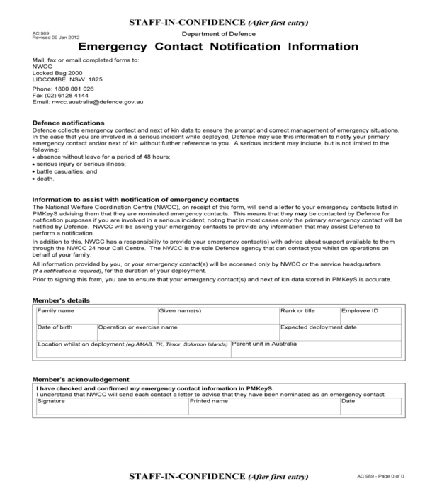 emergency contact notification information form