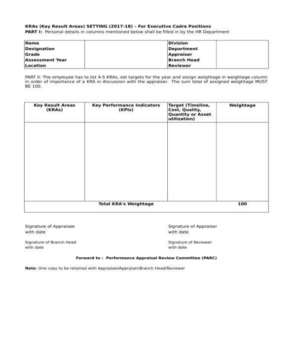 employee appraisal forms in xls