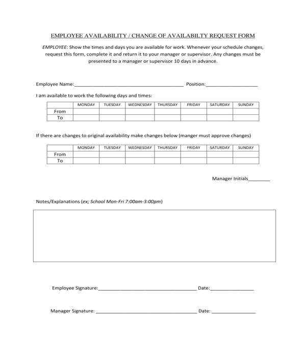 employee availability change request form