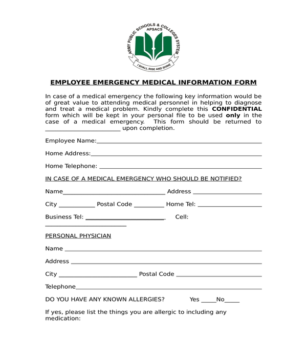 employee emergency medical information form