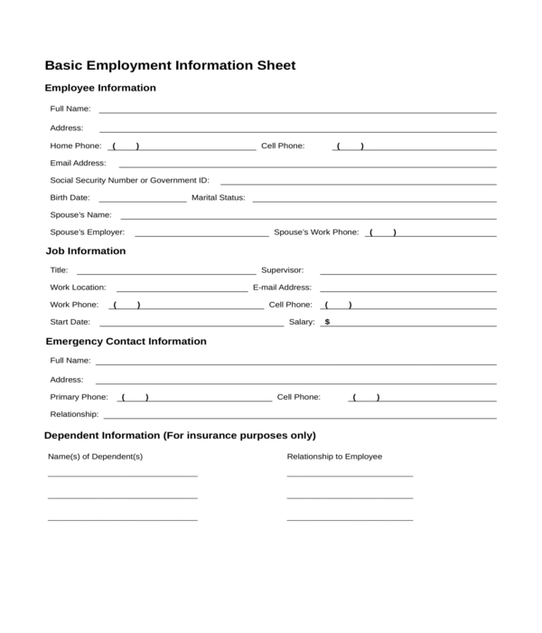employee information form in doc