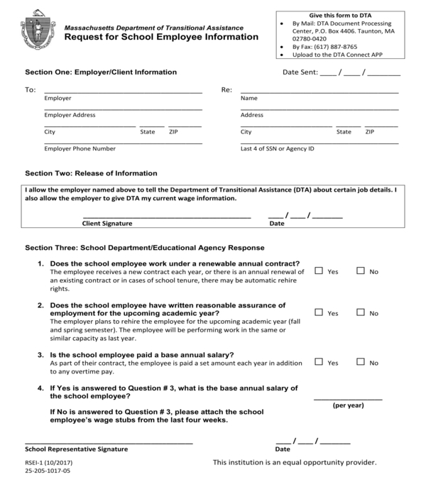 employee information request form