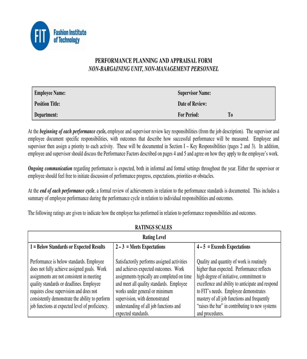 employee performance planning and appraisal form
