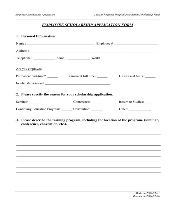 employee scholarship application form