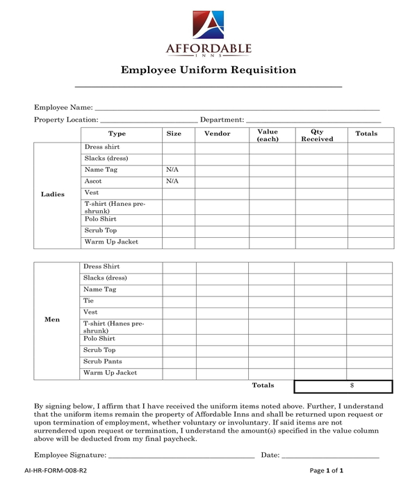 employee uniform requisition form