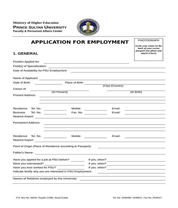employment application form in xls