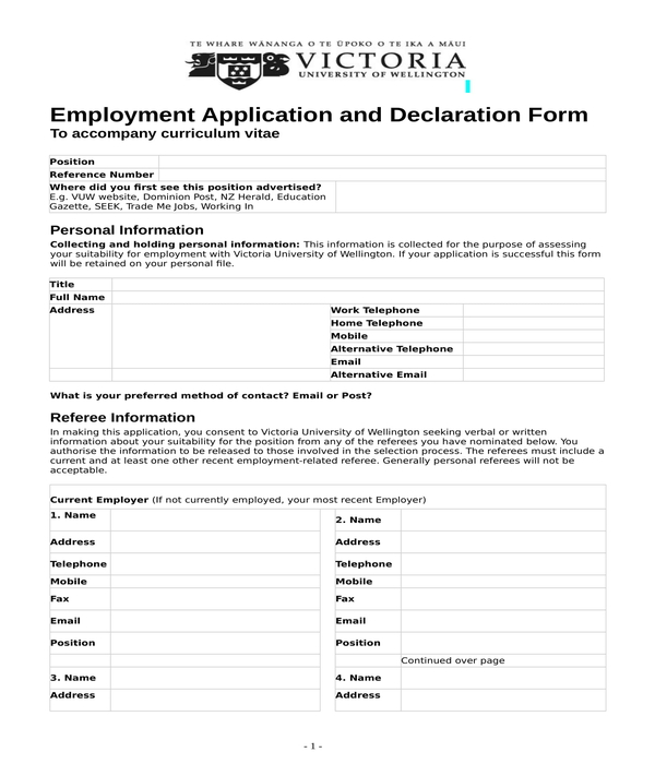 employment application and declaration form