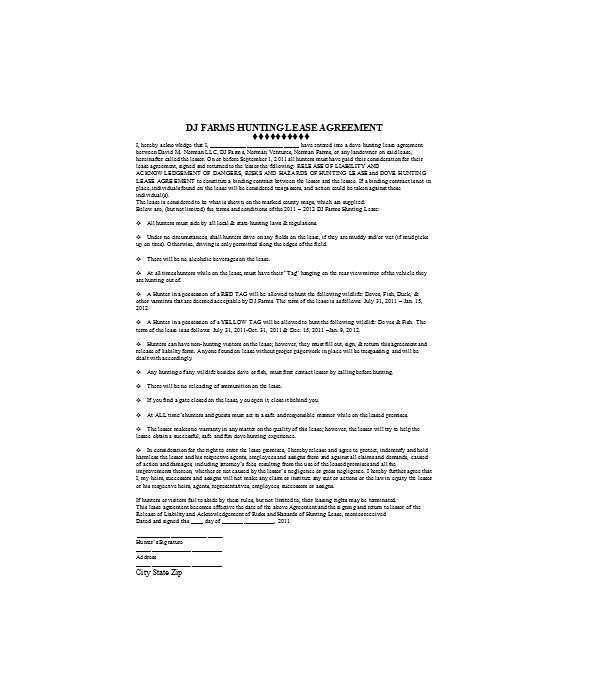 farm hunting lease agreement form