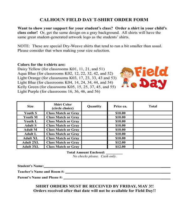 field day t shirt order form