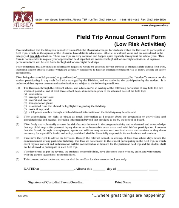 field trip annual consent form