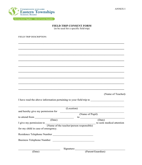 field trip consent form sample