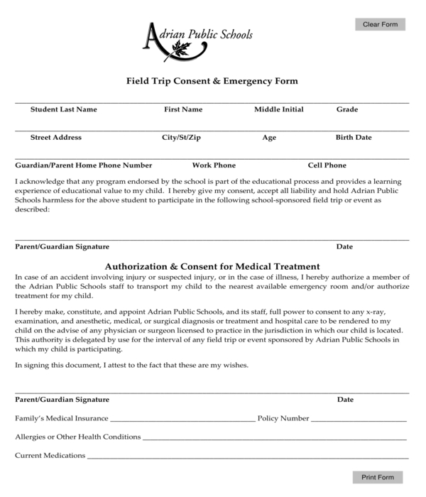 field trip consent and emergency form
