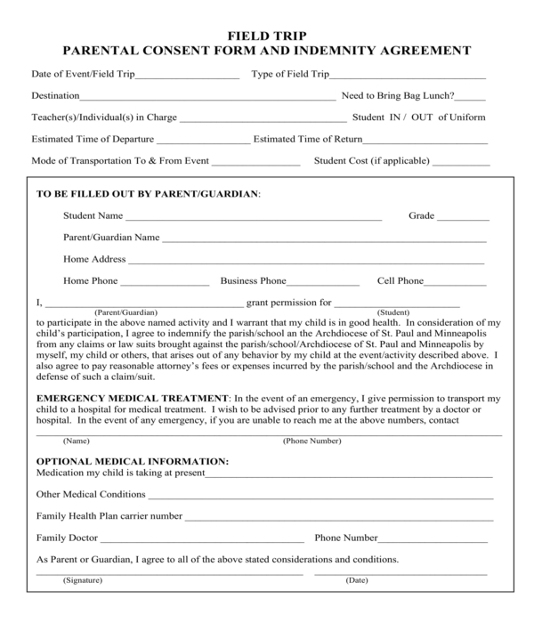 field trip parental consent and indemnity agreement form