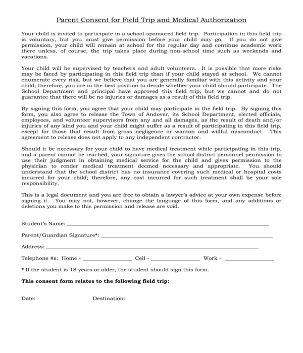 field trip parental consent and medical authorization form