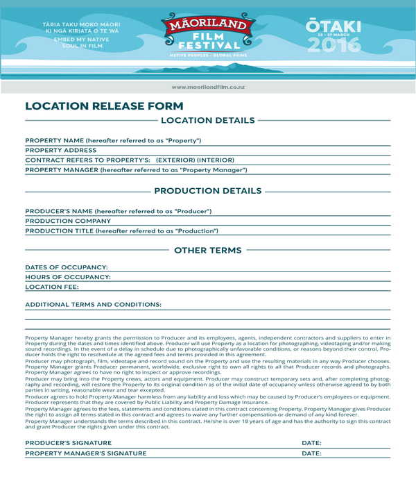 film festival location release form