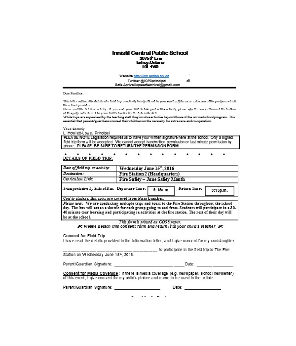 fire station field trip consent form