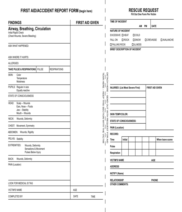 first aid and accident report form