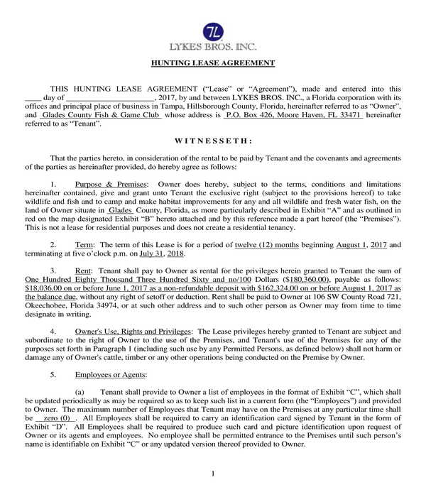 fish and game hunting lease agreement form