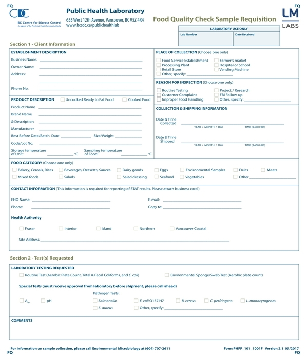food quality check sample requisition form