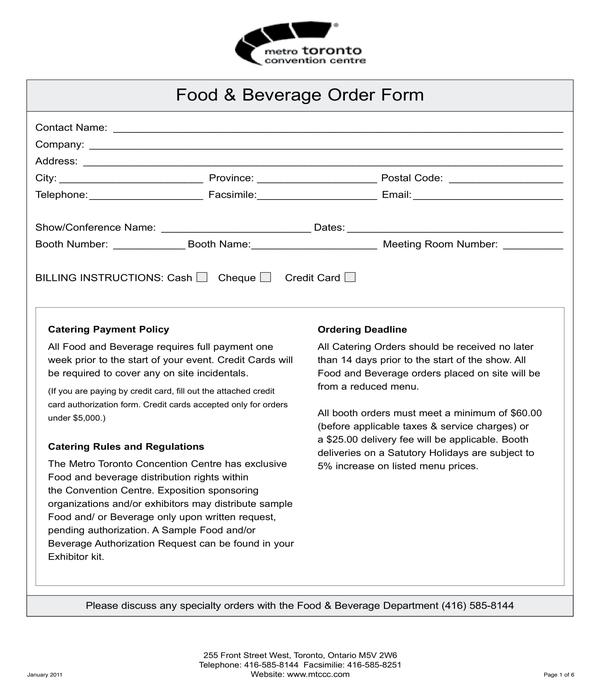food and beverage order form