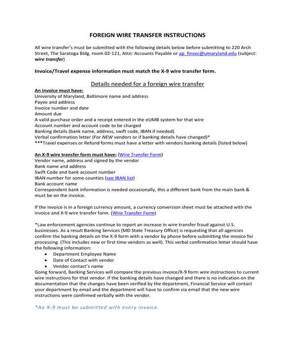 foreign wire transfer instructions form