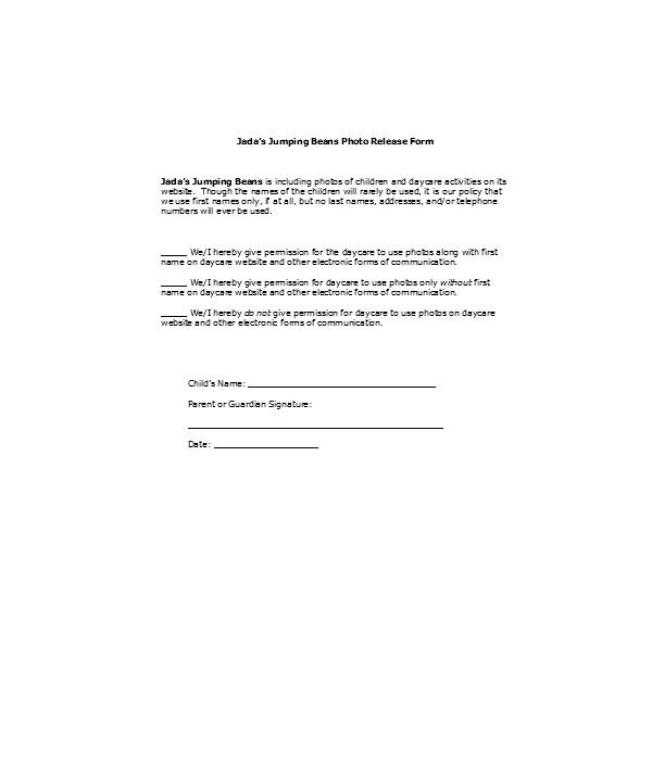 general daycare photo release form