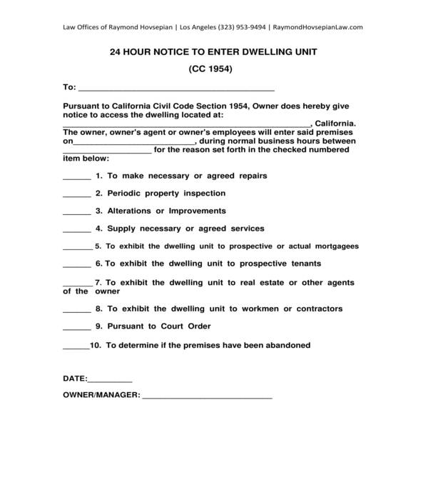general notice to enter dwelling unit premises form