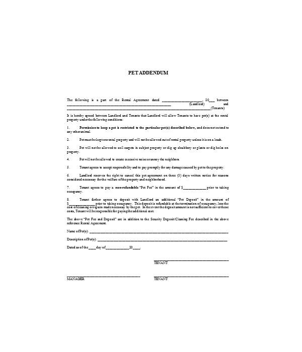 general pet addendum form