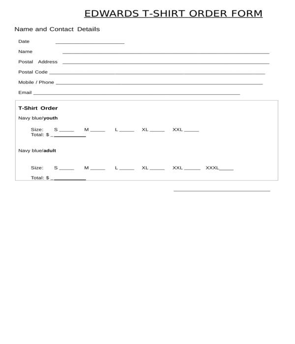 Free 13 Generic T Shirt Order Forms In Pdf Doc