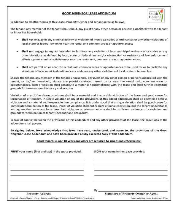 good neighbor lease addendum form