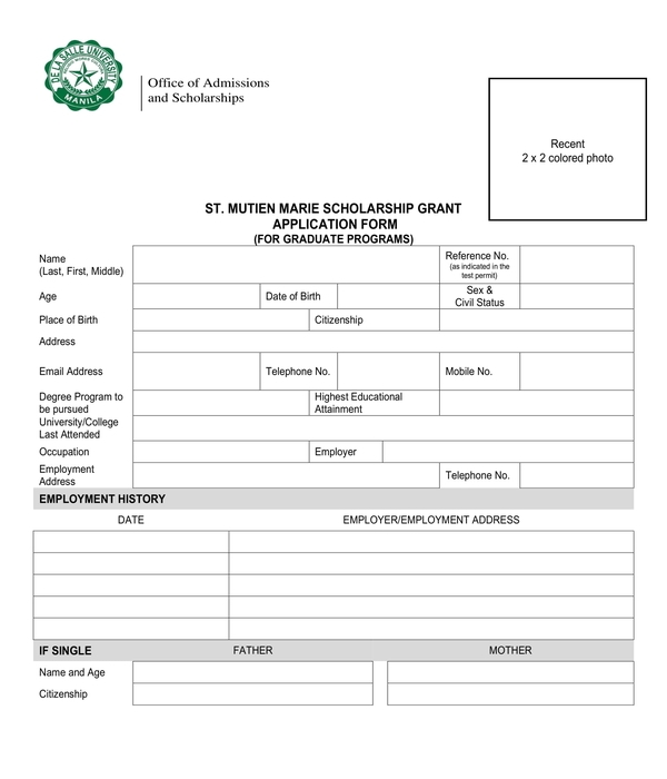 graduate student scholarship application form