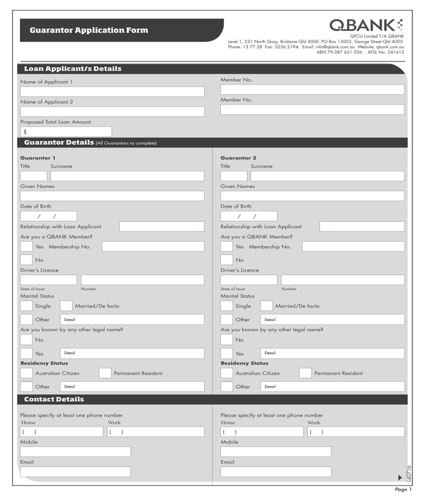 guarantor application form