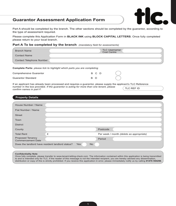 guarantor assessment application form