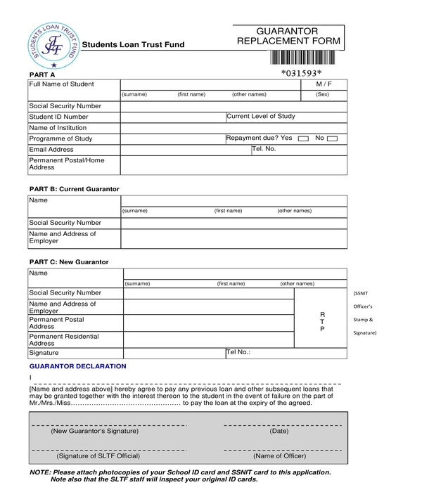 guarantor replacement form