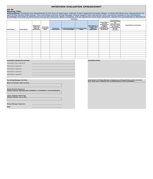 hr interview evaluation form in xls