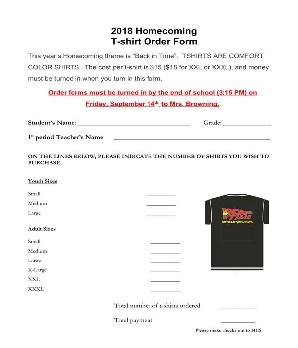 homecoming t shirt order form