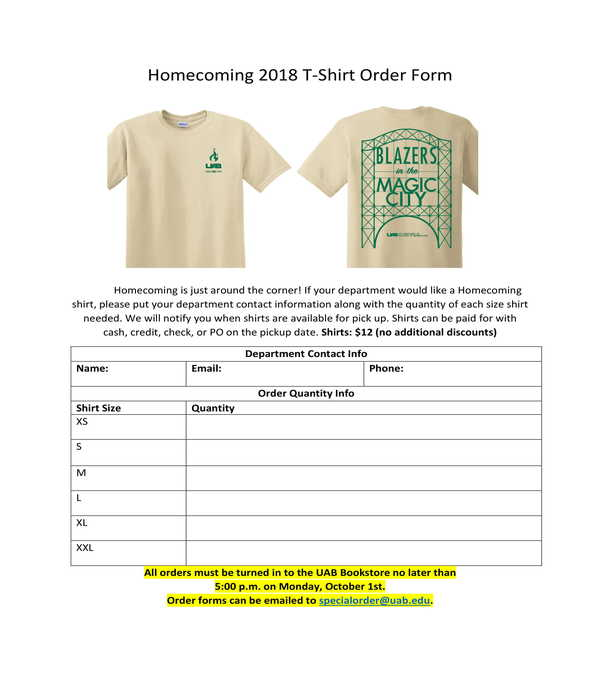 homecoming tshirt order form