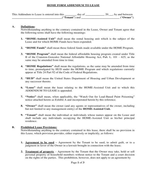 housing program lease addendum form