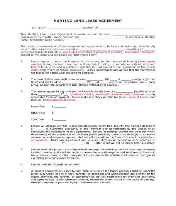 Free 10 Hunting Lease Agreement Forms Pdf