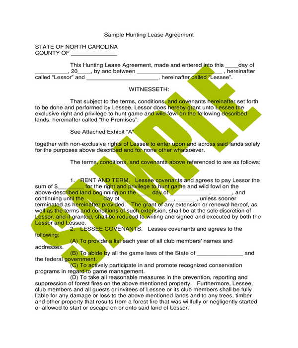 hunting lease agreement form sample