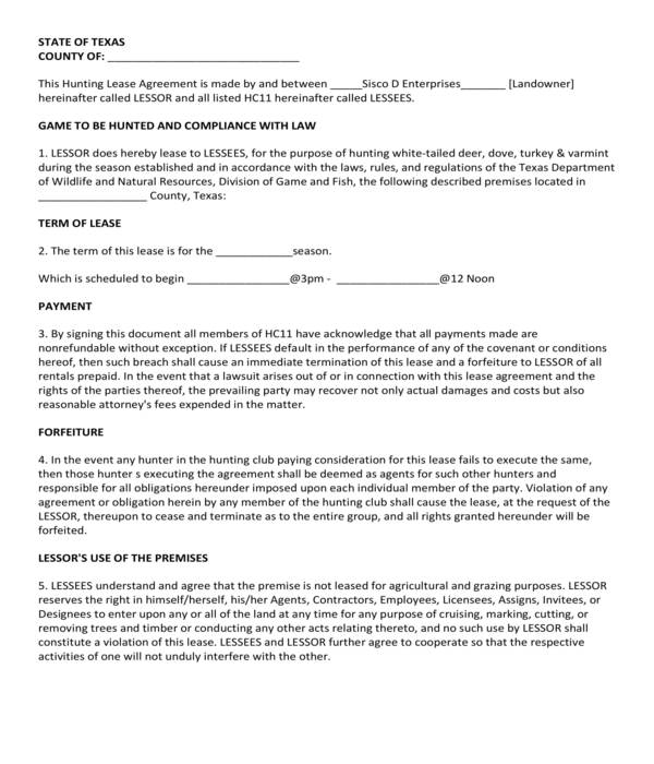 hunting lease compliance agreement form