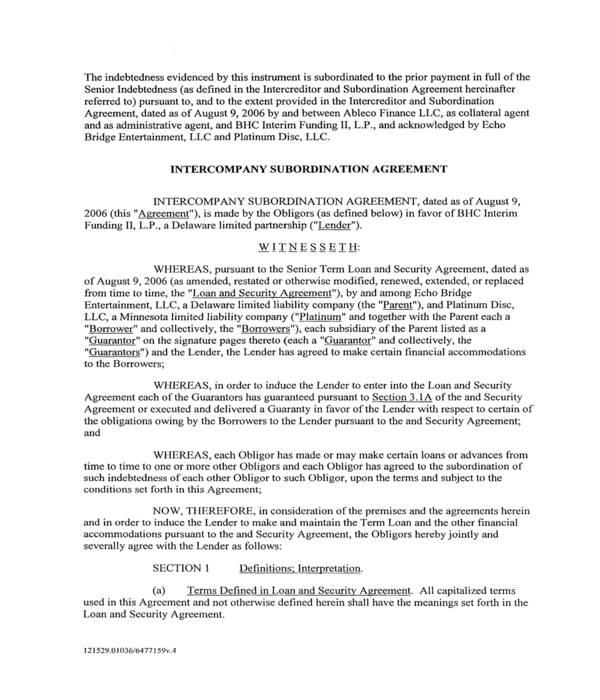 intercompany subordination agreement form