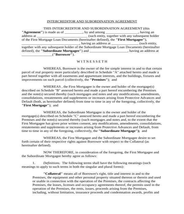 intercreditor and subordination agreement form