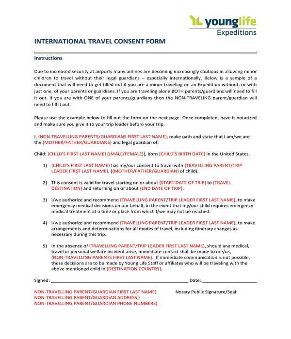 international minor travel consent form