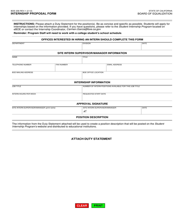 internship proposal form