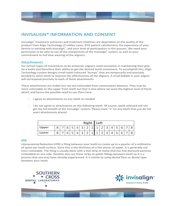 invisalign information and consent form