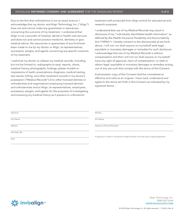invisalign informed consent and agreement form