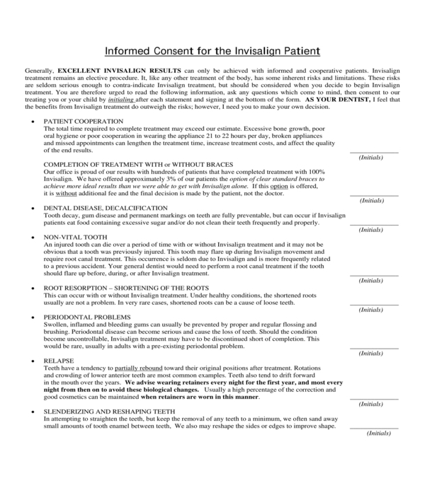invisalign patient informed consent form
