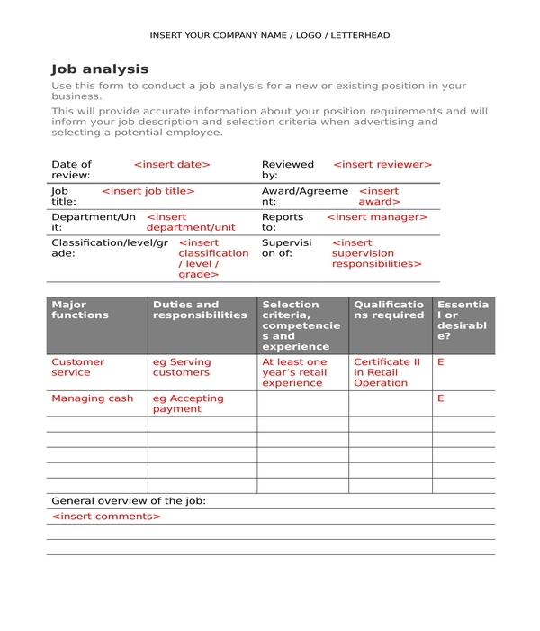 job analysis form in doc